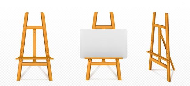 Caballete de madera con lienzo blanco en la vista frontal y en ángulo
