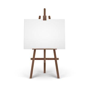 Caballete de madera marrón con maqueta horizontal en blanco vacío
