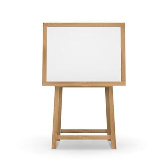 Caballete de madera marrón sienna para tablero de arte con lienzo horizontal en blanco vacío
