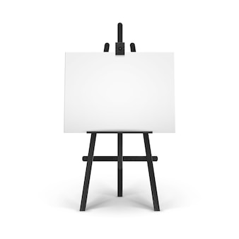 Caballete de madera negra con lienzo horizontal en blanco vacío aislado sobre fondo