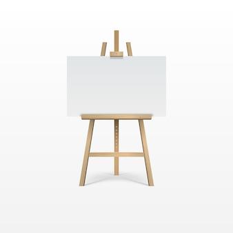 Caballete marrón de madera con lienzo en blanco vacío.