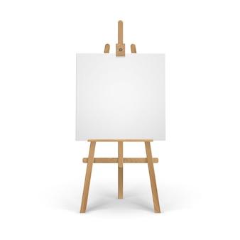 Caballete sienna marrón de madera con lienzo cuadrado en blanco vacío