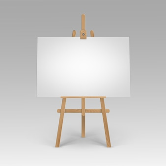 Caballete sienna marrón de madera con lienzo horizontal en blanco vacío