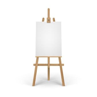 Caballete sienna marrón de madera con lienzo vertical en blanco vacío
