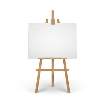 Caballete sienna marrón de madera con simulacro de lienzo en blanco vacío aislado sobre fondo