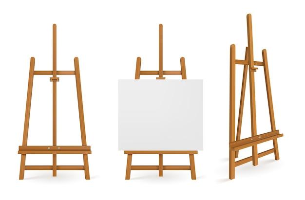 Caballetes de madera o tableros de arte de pintura con lienzo blanco vista frontal y lateral