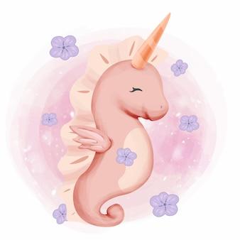 Caballito de mar bebé con disfraz de unicornio