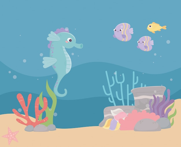 Caballito de mar peces arena piedras burbujas vida arrecife de coral dibujos animados bajo el mar