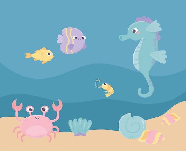 Caballito de mar peces cangrejo camarones arena vida dibujos animados bajo el mar