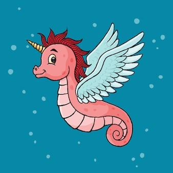 Caballito de mar unicornio, dibujado a mano, vector