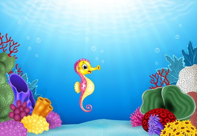 Caballitos de mar con hermoso mundo submarino