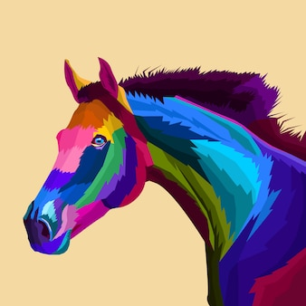 Caballo colorido vector de arte pop