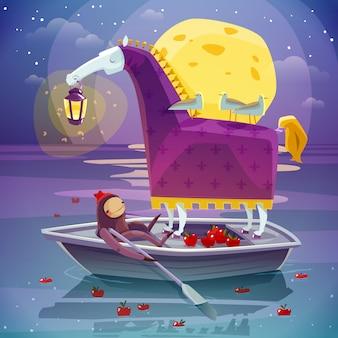 Caballo con linterna surrealista sueño ilustración