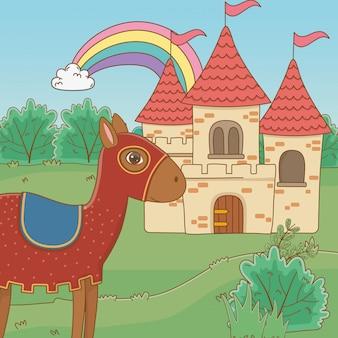 Caballo medieval y castillo de cuento de hadas.