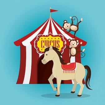 Caballo y monos en el espectáculo de circo
