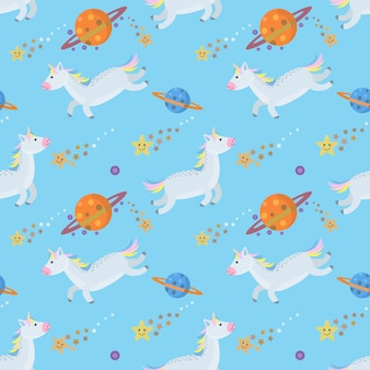 Caballo de unicornio de dibujos animados en patrón inconsútil del espacio