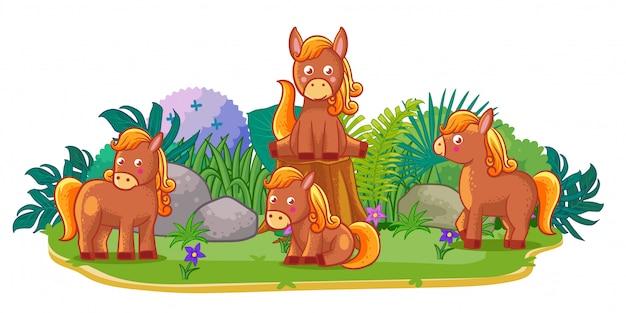 Los caballos juegan juntos en el jardín.