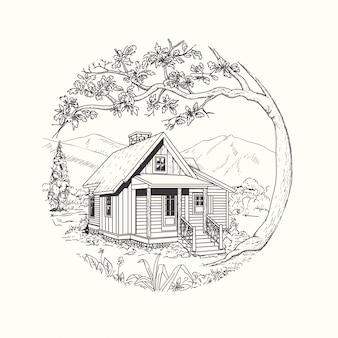 Cabaña dibujada a mano