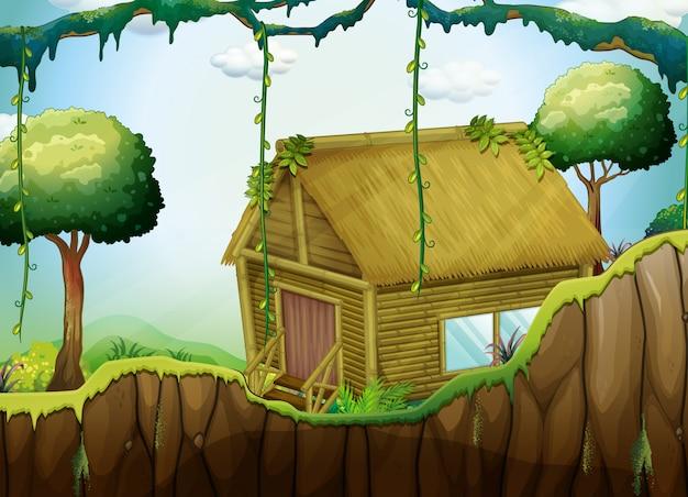 Cabaña de madera en el bosque