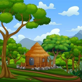 Una cabaña de madera en las colinas.