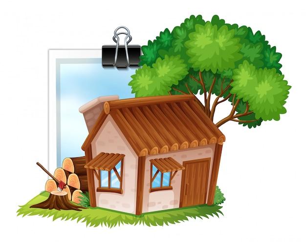 Cabaña de madera en photoframe