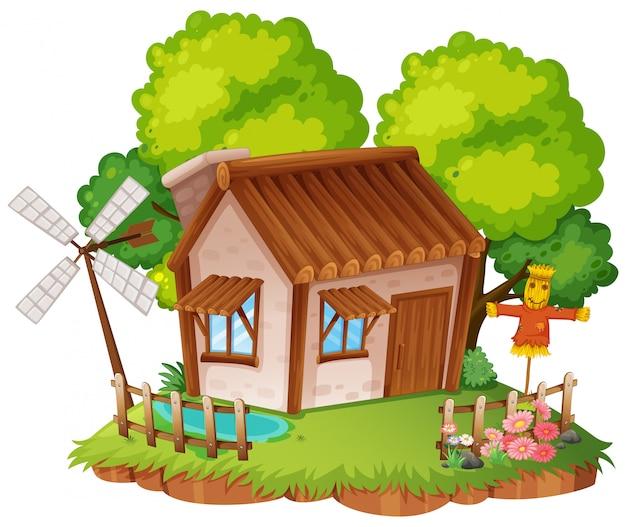 Cabaña con pequeño jardin