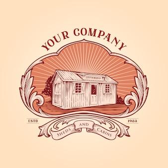 Cabañas de cobertizo marco logotipo vintage su empresa