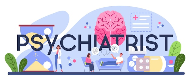 Cabecera tipográfica psiquiatra. diagnóstico de salud mental.