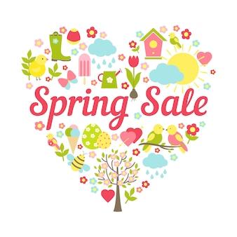 Cabecera de venta de primavera en la ilustración de vector de decoración en forma de corazón