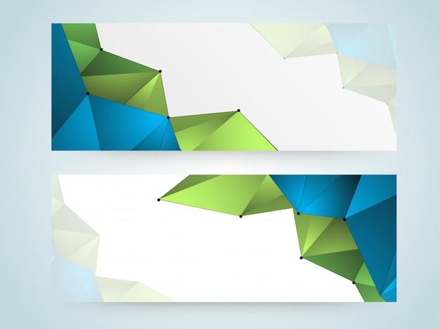 Cabeceras abstractas del web site fijadas con la dimensión de una variable baja geométrica verde y azul brillante del poly.