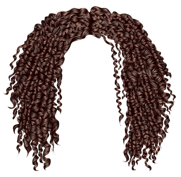 Cabello castaño africano despeinado rizado de moda. realista. moda belleza estilo .unisex mujeres hombres.afro