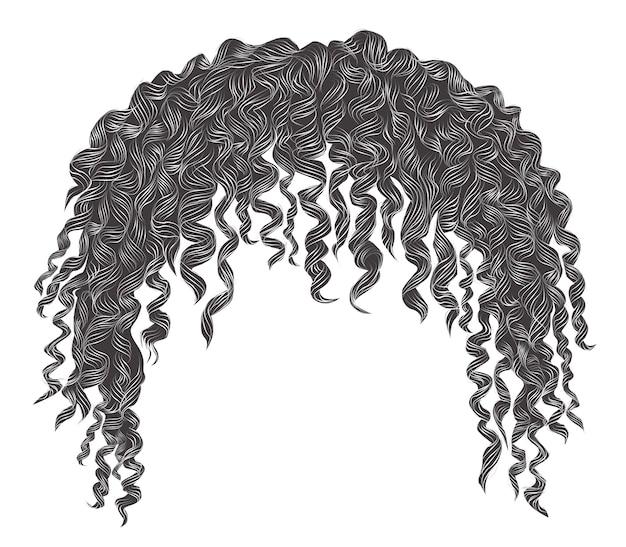 Cabello gris africano desaliñado y rizado de moda. realista. moda belleza estilo .unisex mujeres hombres.afro