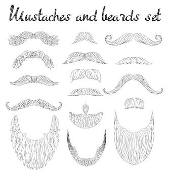 Cabello hombre, bigote, set de barbas.
