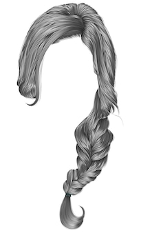 Cabello de mujer de moda color gris. trenza.