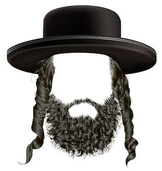 Cabello negro con barba, peluca con sombrero