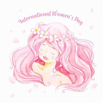 Cabello rosado del día de la mujer en acuarela