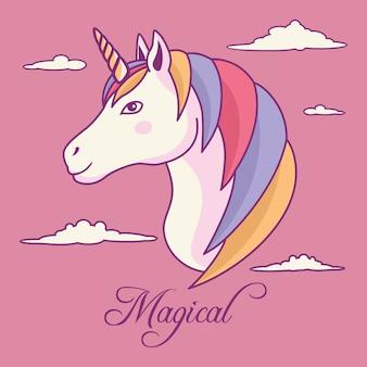 Cabello unicornio único del arco iris con cuerno y fondo de la nube