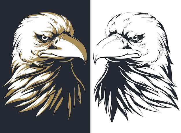 Cabeza de águila calva silueta aislada, mascota logo en estilo blanco y negro