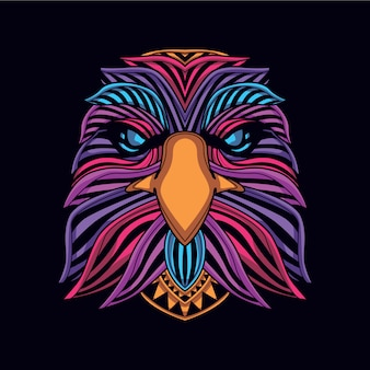 Cabeza de águila de color neón resplandor