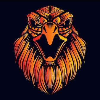 Cabeza de águila enojada con cara decorativa resplandor color fuego