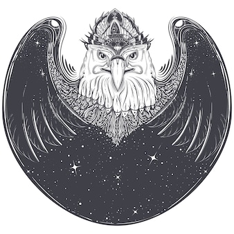 Cabeza de águila de mar con símbolos rúnicos paganos