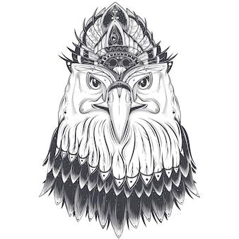 Cabeza de águila con peine de plumas