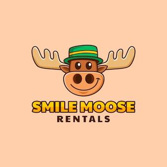 Cabeza de alce de dibujos animados con diseño de logotipo de gorra verde