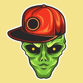 Cabeza alienígena con ilustración de vector de sombrero snapback