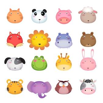 Cabeza de animal de dibujos animados lindo