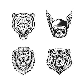 Cabeza de animales en blanco y negro