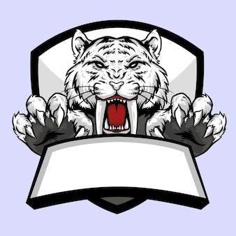 Cabeza blanca de tigre sabertooth con diseño de mascota con logo de emblema de garra y bandera