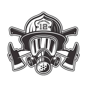 Cabeza de bombero en casco, máscara de gas y dos ejes cruzados ilustración en monocromo sobre fondo blanco.
