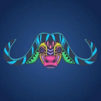 Cabeza de búfalo de color pop