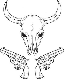 Cabeza de búfalo y pistolas